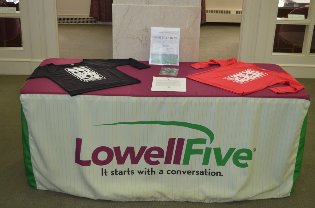 The Fetti Over Betti Brand is featured at Lowell 5 Cent Savings Bank